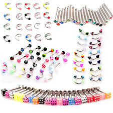20PCS Eyebrow Lip Tongue Nose Navel Belly Button Ring Ball Cone Piercing Jewelry