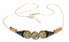 LT TOPAZ & BLACK Crystal Necklace Sterling Silver Disco Ball Swarovski Elements