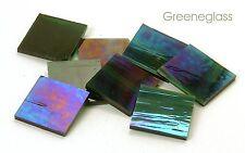 Dark Green Wispy Iridized Mosaic Glass Tile * Cut to Order Shapes * Large Pack
