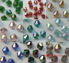 New 100pcs loose glass crystal bicone spacer beads 4mm AB Color You Choose