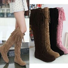Women's Tall Pull On Boots Tassels Moccasin Knee High Knight Ridding Boots