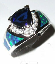 Jewelry Fashion Ring Size 6/7/8/9/10 Blue Sapphire/Opal Women Silver Filled Gift