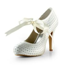 Custom Made All SIze Satin Bridal Bridesmaids Women High Heel Flat Wedding Shoes