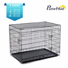 Folding Dog Pet Cage Two Doors Crate Wire Kennel Cat Bird Cage Black