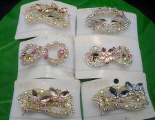 Clear AB Glass Colorful Rhinestones butterfly Flower Metal Hair Clips Barrette#3