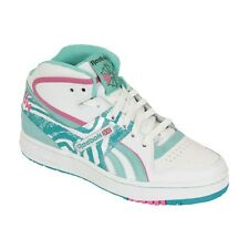 Reebok Pro Legacy Mid Womens Hi Top Trainers White Turquoise Pink Leather