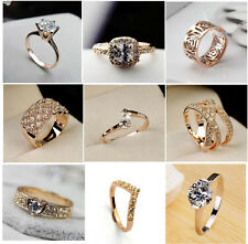 18K Rose Gold Plated Crystal Cocktail Wedding Jewelry Rings + Free Gift Bags