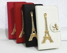 3D Diamond Eiffel Tower Card Holder Leather Wallet Case Cover FOR Samsung Phones