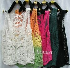 Women's Floral Sleeveless Vintage Crochet Knit Lace Vest Tank Top Shirt