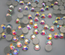 AAA Silver-plated bottom lot facets CLear AB glass Crystal Flat Back Rhinestones