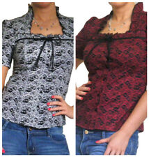 New Blouse Ladies Shirt Top Short Sleeve Lace Womens Tops Size 10 12 14 16 18 20