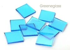 Sky Blue Cathedral 96 coe Fusible Mosaic Glass Tile Cut to Order Shapes Lg Pack