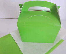 LIME GREEN GIFT BOX AND x 2 TISSUE PAPER FAVOUR PICNIC LUNCH MEAL BOXES - PARTY