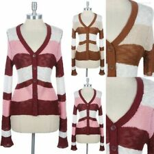 Color Block Button Down V Neck Knit Cardigan Long Sleeve Stylish Cotton S M L