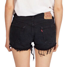 LEVIS VINTAGE WOMENS HIGH WAISTED BLACK 501 DENIM SHORTS 4 6 8 10 12 14 16