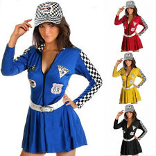 Satin Cheerleader Dress Dance Party Racing Costume Cosplay Outfit With Hat Belt