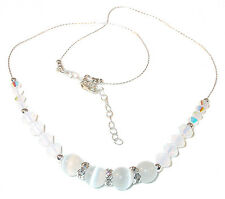 WHITE Cat's Eye Necklace Sterling Silver WHITE OPAL Swarovski Crystal Elements