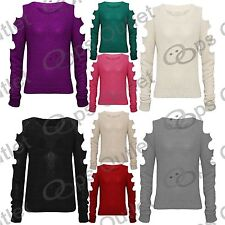 New Ladies Cut Out Long Sleeves Womens Baggy Knitwear Sweater Knitted Jumper Top