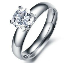 JZ51  HOT SALE! Shining Crystal Titanium Steel Promise Ring Lover Gift