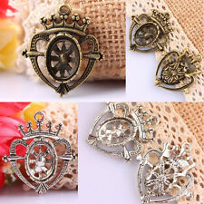 10Pc Crown Heart Wheel Bronze/Tibet Silver Pendants Charms Beads Metal Findings
