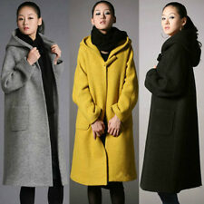 New Womens Long Winter Wool Coat Hooded Loose Thick Jacket Parka