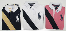 Polo Ralph Lauren Womens Short Sleeve Big Pony Striped Number 3 Polo Rugby Shirt
