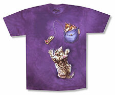 THE MOUNTAIN - POCKET MICE WITH CAT PURPLE TIE DYE T-SHIRT NEW YOUTH KIDS MOUSE