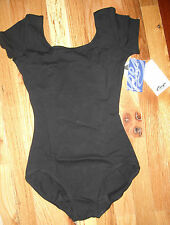 NWT Capezio TB132C Short Sleeve Leotard Girls Black Dance Ballet Microfiber