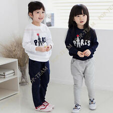 Girls Kids Tower letters Autumn Top+Pants Outfit Set 4-8Y Tracksuit Outfit FT148