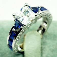 z0120 Jewelry Brand New sapphire lady's 10KT white Gold Filled Ring sz6/7/8/9/10