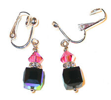 8mm Cube Crystal Earrings ROSE PINK & JET AB Sterling Silver Swarovski Elements