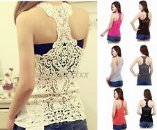 Sexy Stylish Girl Women Back Hollow-Out Lace Crochet Cami Shirt Blouse Tank Tops