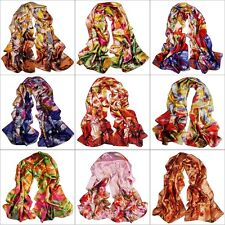 Women's Girl Fashion Satin oil painting Long Wrap Shawl Beach Silk Scarf