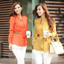 Elegant Women Career Chiffon Blouses Size S-2XL Design Lady Office Shirt D1291