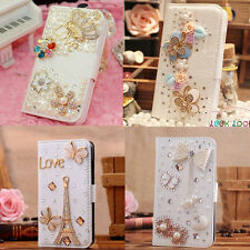 Hot Sale Luxury 3D Bling Crystal Rhinestone Flip Wallet PU Leather Case Cover