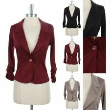 Shirred Cuff with One Buttoned Solid Blazer V Neck Chic Stylish 3/4 Sleeve S M L