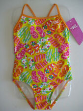 SPEEDO Girls One Piece 1 Pc Swim Bathing Suit  Yellow Orange Pink Green NEW
