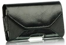 New Black Leather Horizontal Holster Pouch Case with Belt Clip for Cell Phones