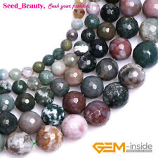 """Natural Gemstone Indian Agate Stone Jewelry  Making Beads Strand 15"""" Faceted"""