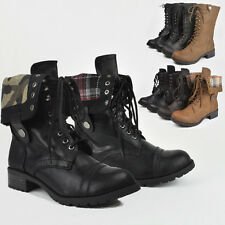 Women Military Army Combat Cadet Booties Riding Lace Up Fold Winter Boots Shoes