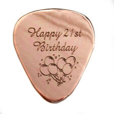 "Personalised Copper 1mm ""Happy Birthday"" Guitar Plectrum Pick, Engraved"