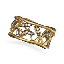 14 Karat Gold Plated Vine Design Ring with CZs 925 Sterling Silver