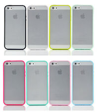Glossy TPU Bumper Case Cover W/Clear Back for Apple iPhone 4 4S 5 5G 5S 10Colors