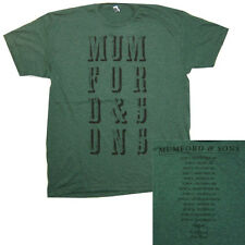 """MUMFORD & SONS """"GENTLEMEN OF THE ROAD"""" USA TOUR GREEN T-SHIRT NEW OFFICIAL"""