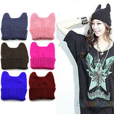 Fashion Womens Winter Soft Elastic Beanie Cap Cat Ear Shaped Knitted Hat NW BJ4U