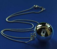 * LARGE Sterling Silver C925 Lucky Wish Ball Harmony Relax Mediate Bell Necklace