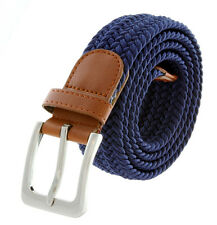 """Navy Fabric Leather Elastic Woven Stretch Belt 1-3/8"""" Wide"""