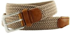 """Beige Fabric Leather Elastic Woven Stretch Belt 1-3/8"""" Wide"""