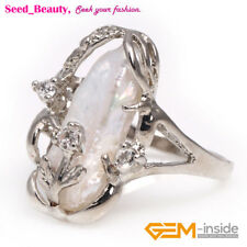 size send by random Jewelry biwa freshwater pearl white gold plated ring #6-#9
