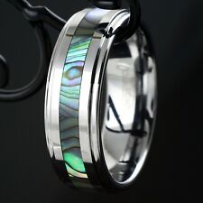 Stunning Tungsten Abalone Stripe Inlaid Wedding Band Ring Sz 5-15 Men's & Women